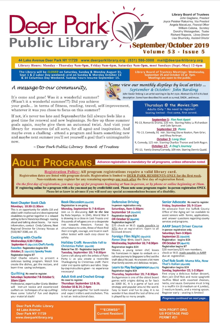 2019 Sept-Oct Newsletter 1st Page Image