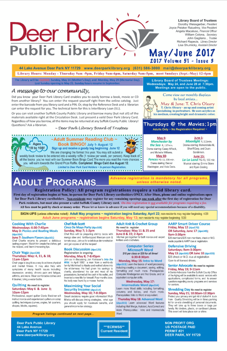 2017 May/ June Newsletter 1st Page Image