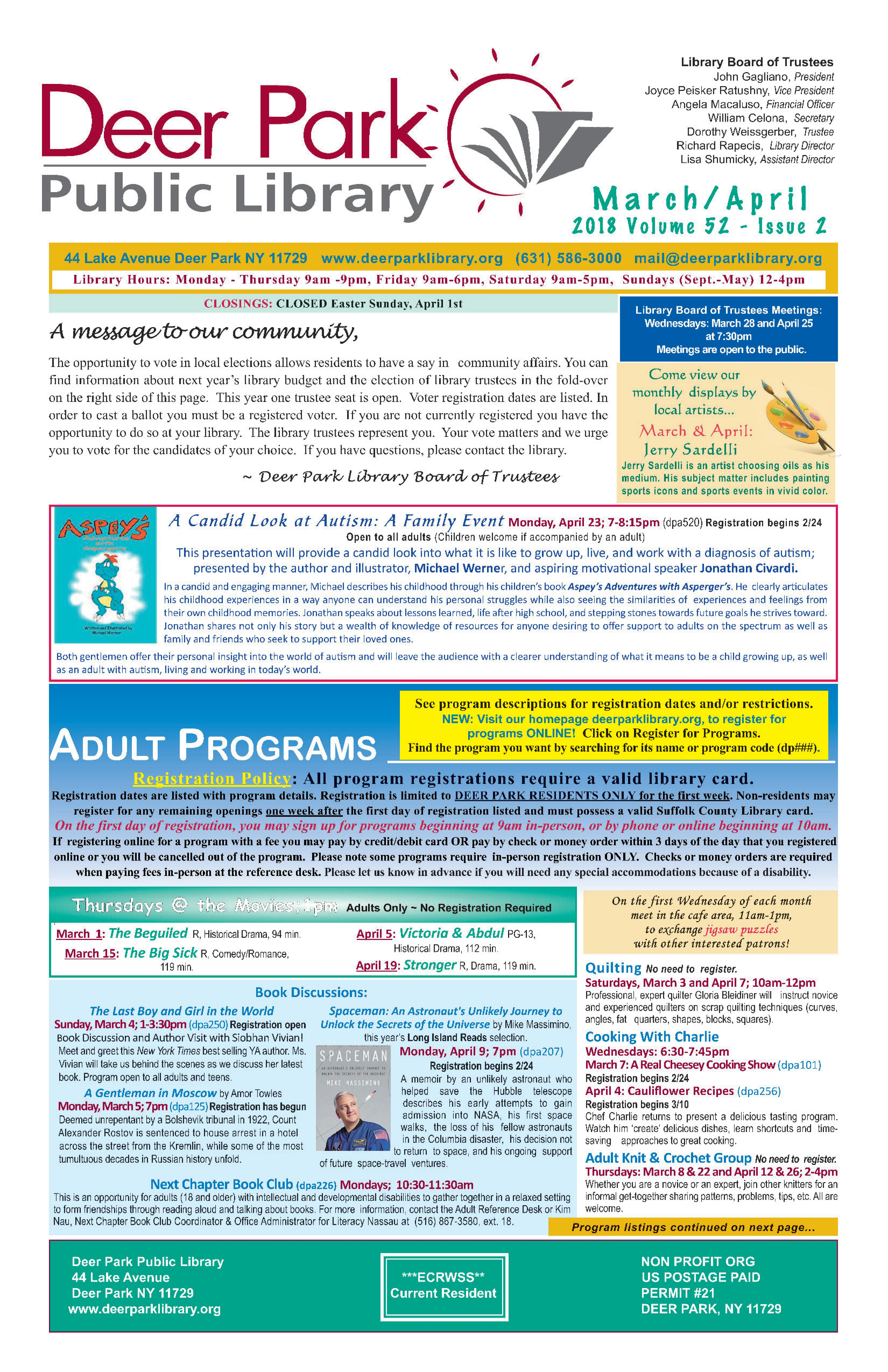 2018 March/April Newsletter 1st Page Image