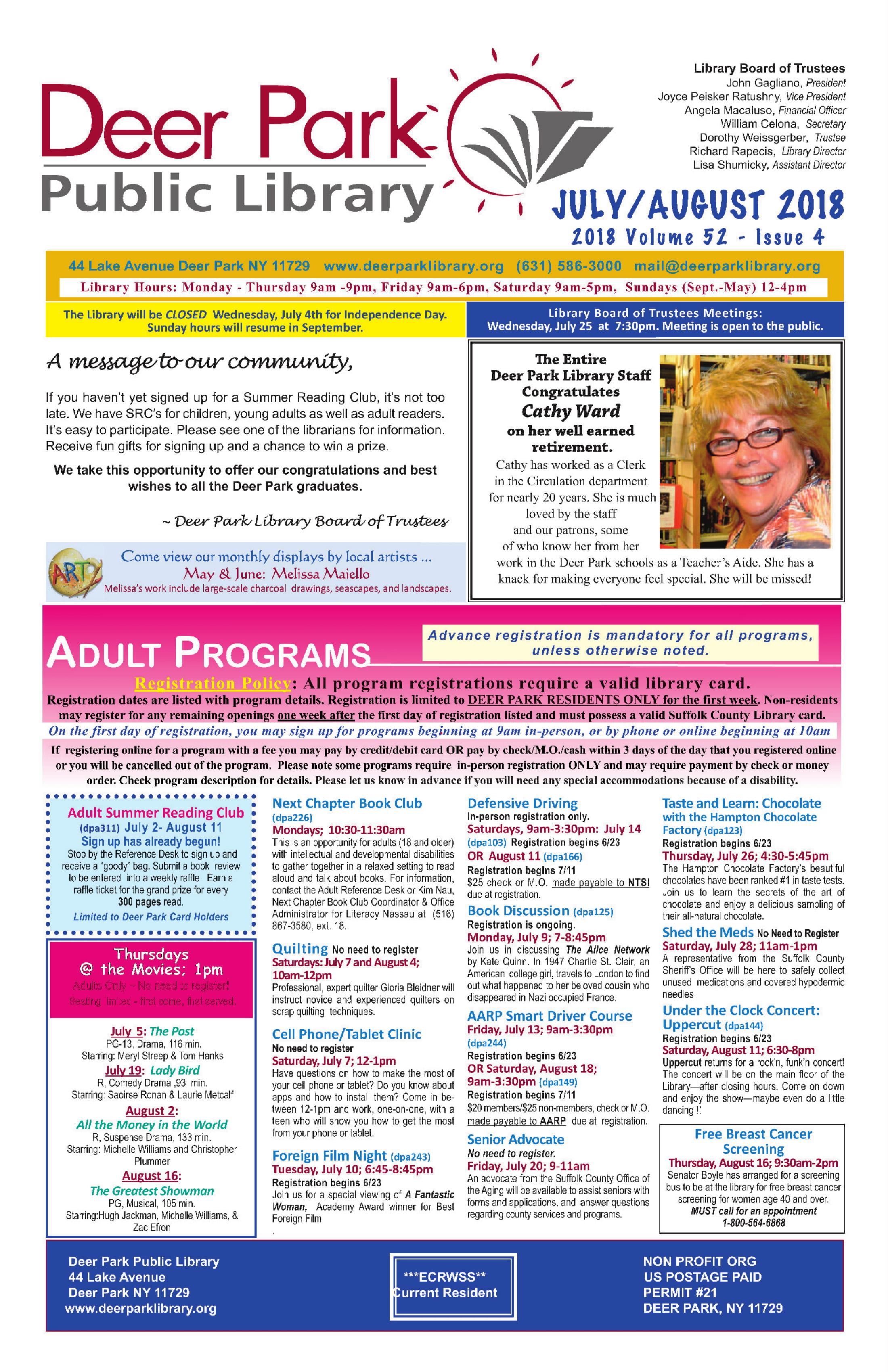 2018 June/July Newsletter 1st Page Image