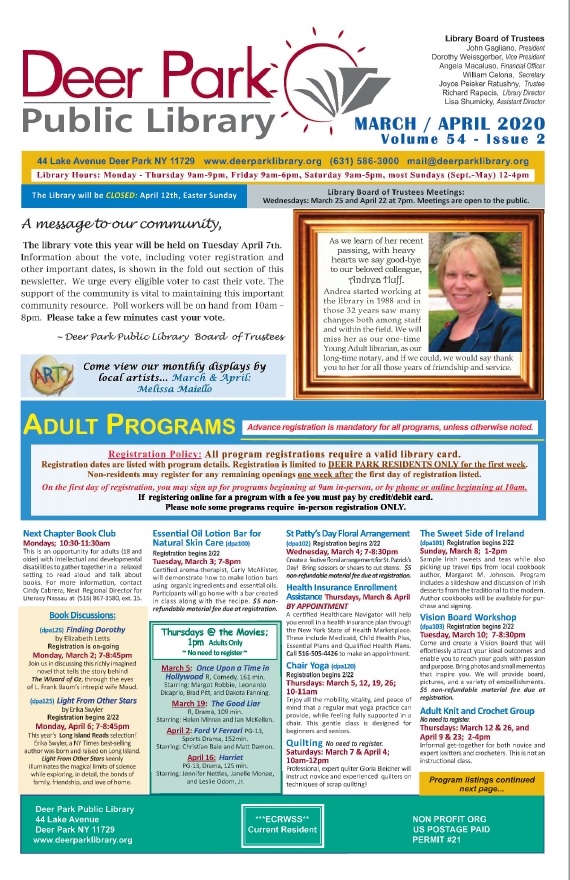 2020 March-April Newsletter 1st Page Image