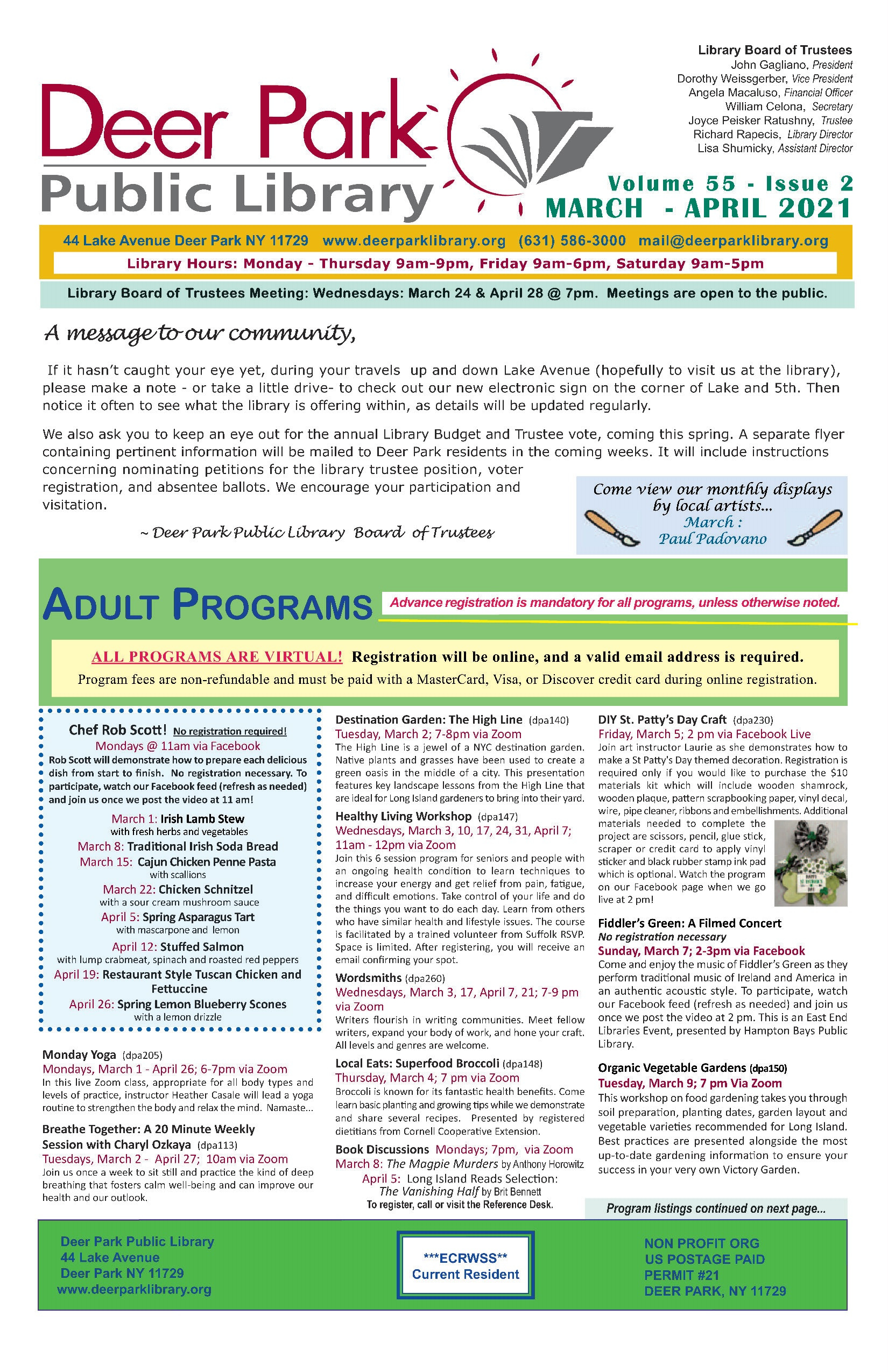 2021 March-April Newsletter 1st Page Image