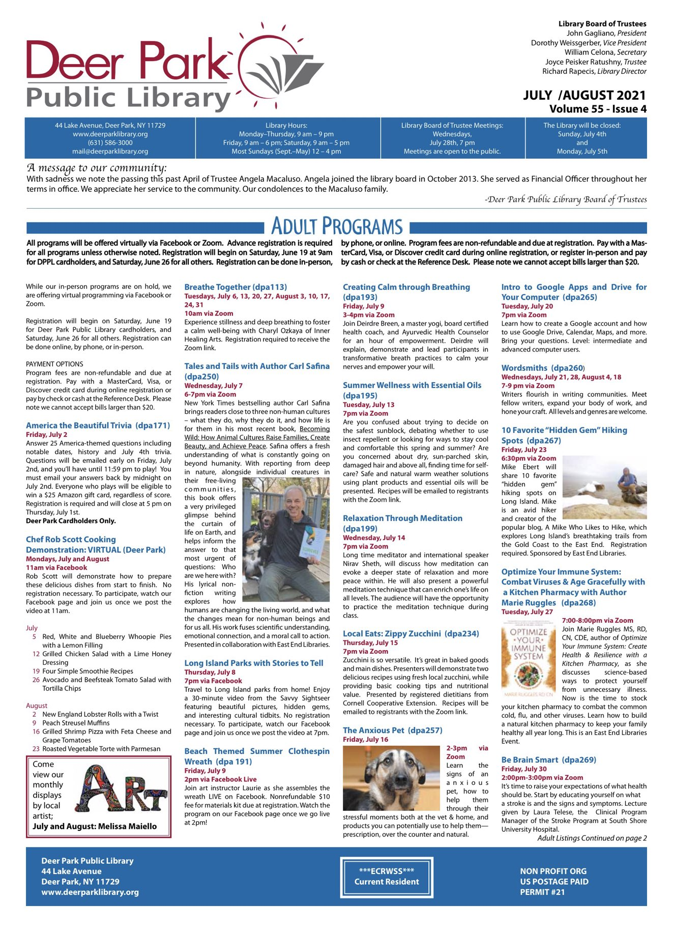 2021 July-August Newsletter 1st Page Image