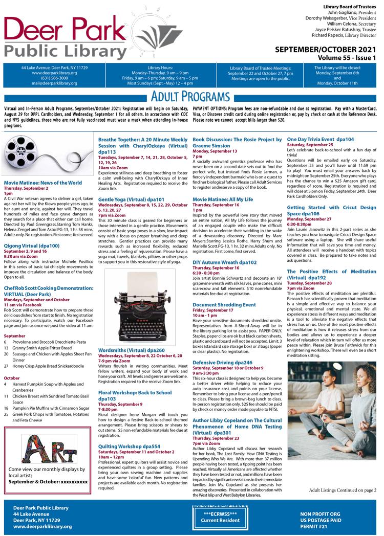 2021 September October Newsletter 1st Page Image
